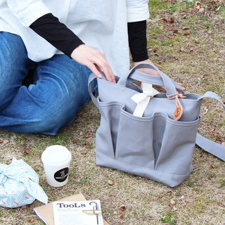 nap: Light gray Kurashiki canvas shoulder bag