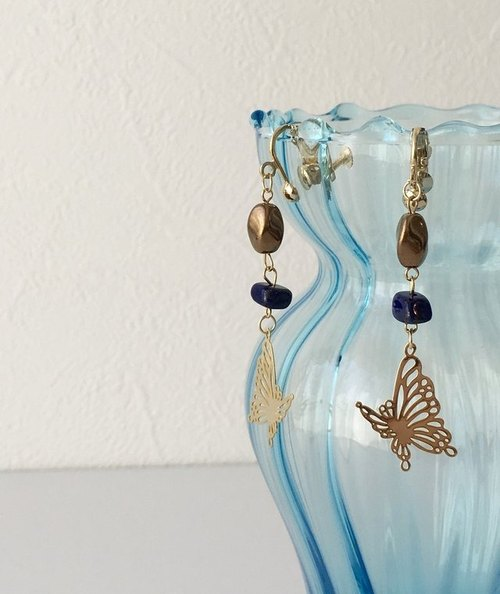 Lapis lazuli & butterfly earrings or piercings