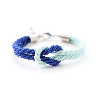 Admiral blue / Light mint knot rope bracelet