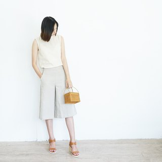 Cropped Linen Culottes Natural Color