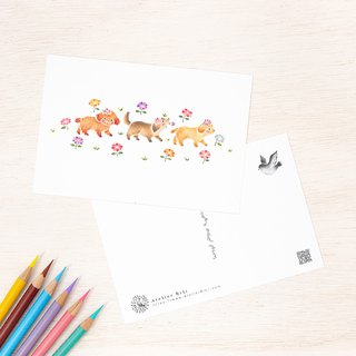 "4 pieces set. Like a picture book. Postcard ""Puppy's Osanpo"" PC-311"