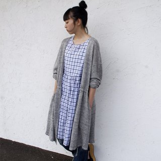 Cotton linen check sleeveless one-piece dress / gnm-21