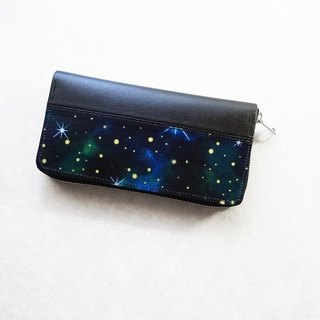Small space round zipper long wallet green