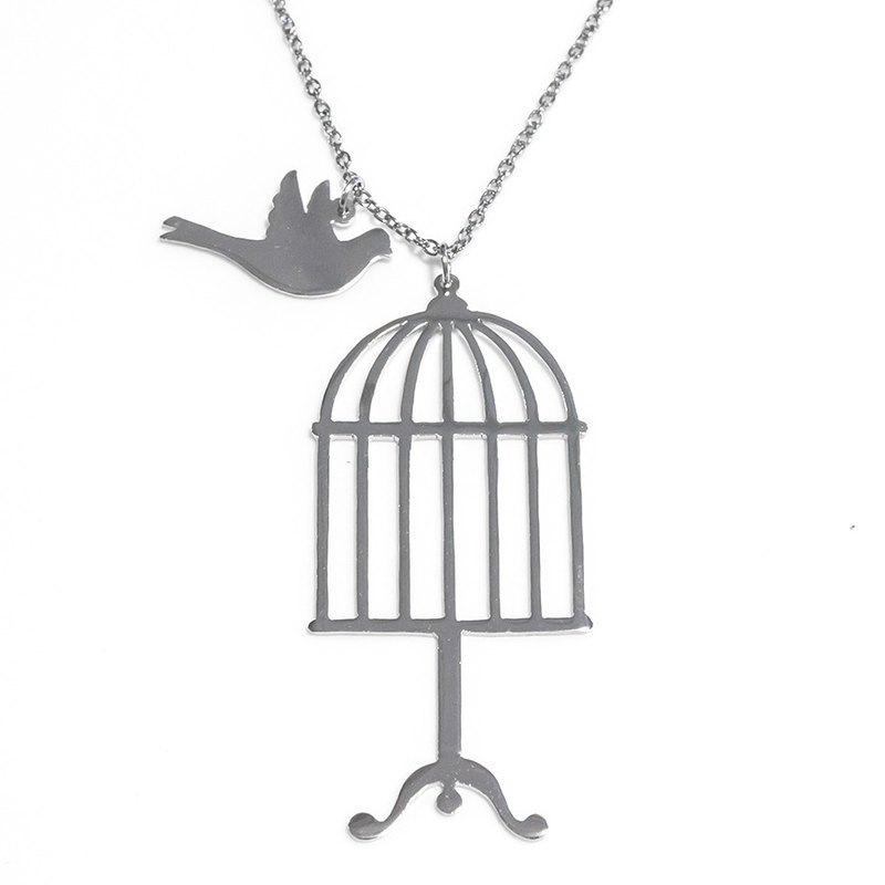 Bird cage with small bird pendant