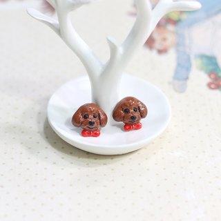 Brown Toy Poodle dog Earrings with red ribbon, Dog Stud Earrings