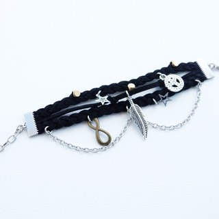 Layered black suede bracelet with charm and chain