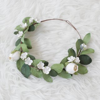 White Rose Handmade Floral Crown