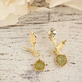 K18GP Mali Garnet gemstone Botanical earrings