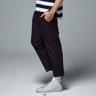 Stone'As Cropped Tapered Trousers In Navy / 窗格 九分裤 蓝 格纹 格子