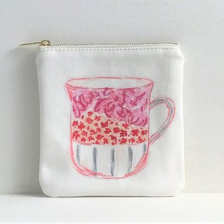 Gardeners' Tea Party Square Flat Pouch Mug Cup Pink