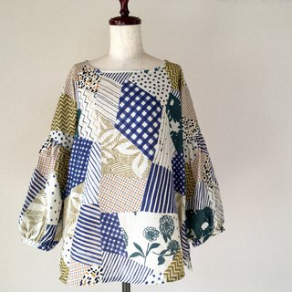 Gather Sleeve Blouse * Random Patchwork Pattern * Double Gauze * Olive