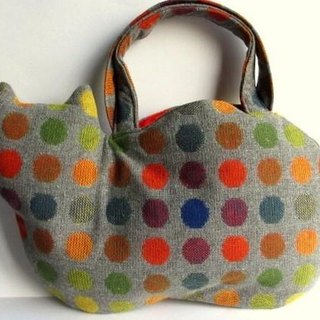 Wool cat bag * colorful dot orange