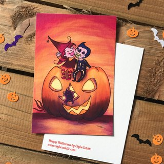 Happy Halloween colour postcard