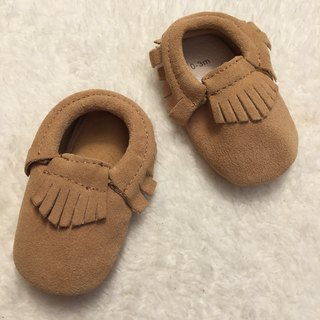 SanBelle Baby Fringed Moccasin Shoes ★Lether★0-18m Beige