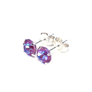 Sparkly Purple Swarovski Crystal Earrings, Sterling Silver, 6mm Round, 女性耳環