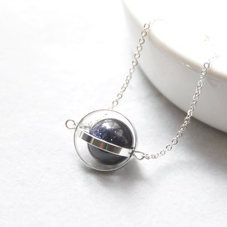 神秘星球。宇宙。银环。蓝砂。项链 Mysterious Planet。Galaxy。Sliver Ring。Sandstone。Necklace。生日礼物。闺蜜礼物。姐妹礼物