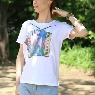 Printed Rainbow-Accordion T-shirt - White - women's / men's / unisex
