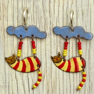 Jewelry, Earrings, Enamel Earrings, Cat Earrings, Enamel Jewelry, Cat Jewelry, Cat Shaped Earrings, Boho Earrings, Enameled Earrings, Cloud, Cloud Earrigs,