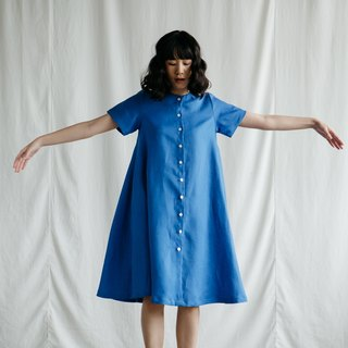 A-line dress with Shell Button in Blue