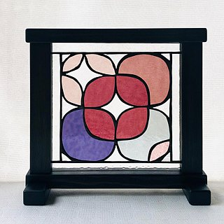 Stained glass panel Hortensia Rose