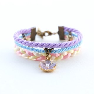 Lilac flower layered bracelet in matte purple / sky blue / young corn / peach