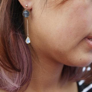 925 Earring with flourite & 8MM moonstone - 8MM超美月亮石配10MM萤石纯银耳环