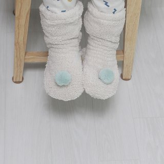 baby mint pompom  wool warm winter socks
