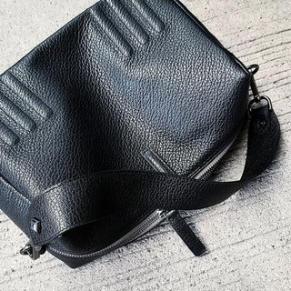 SUBMARINE (Black) soft leather bag with double straps