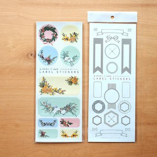 FLORAL STICKERS & LABEL STICKERS SET (2 sheets)