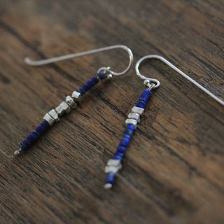 Lapis Lazuli and silver sugar cube beads asymmetrical earrings (E0161)