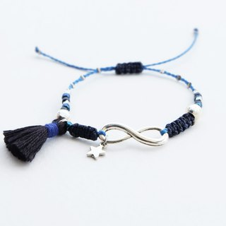 Star and infinity navy blue black adjustable bracelet with tassel