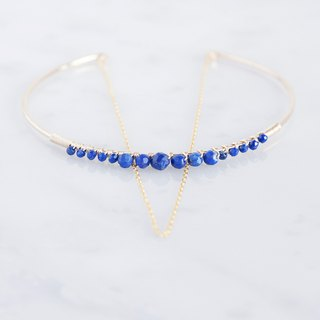14KGF】 Hammered Open Chain Wire Bangle - Lapis Lazuli -