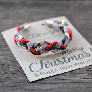 Christmas braided bracelet in red green charcoal light gray - Christmas bracelet