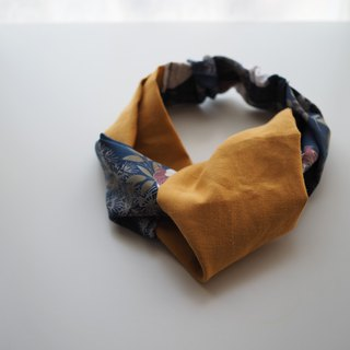 Headband Attwood -FH02 -cotton, linen, mustard, blue