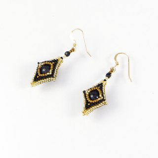 Beaded black gold earrings, spike earrings, square earrings, geometric, 0802