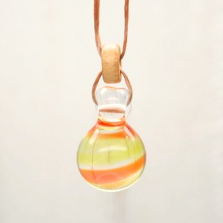 Bee-dama, Glass Marble, orange, Aqua drop of glass pendant