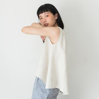 Beige Linen Sleeveless Shirt