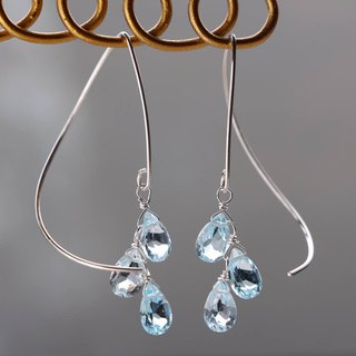 SV 935 (Argentium) - skyblue topaz half curl pierced earrings