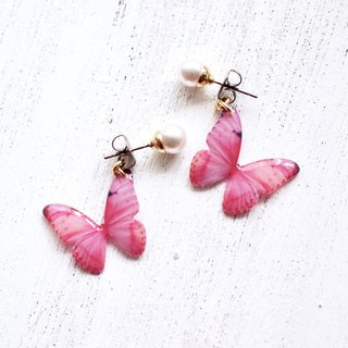 Light Pink Butterfly Earrings With Pearl, PB02