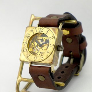 Handmade watch automatic winding square Brass (BAM 049 BR)