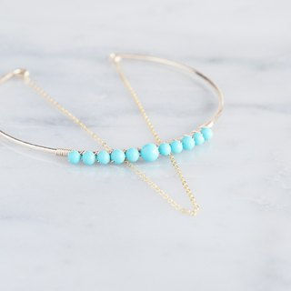 【14 KGF】 Hammered Open Chain Wire Bangle - Turquoise -