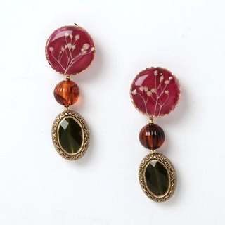 Braised grass piercing earring 1 / wine