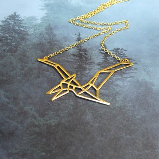 Pterodactyl, Origami, Dinosaur Necklace, Gold Plated Necklace, Dinosaur Gifts