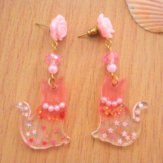 Beauty Pink Cat Earrings in Pierce and Clip-on Decor with Pink Star Glitter