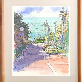 Watercolor picture Original picture Shonan Shichirigahama sea 5