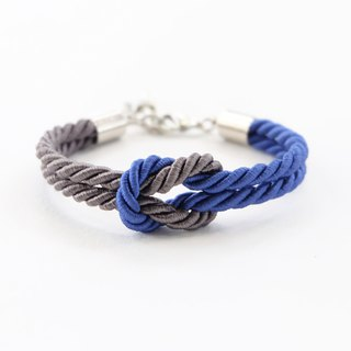 Admiral blue / Charcoal knot rope bracelet