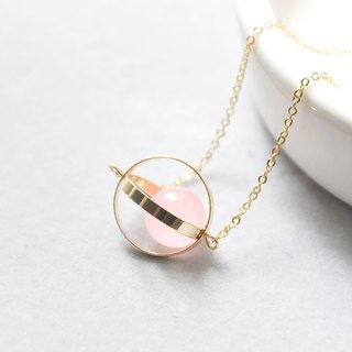 幸福星球。宇宙。金环。粉玉髓。 项链 Blessed Planet。Galaxy。Golden Ring。Pink Chalcedony。Necklace