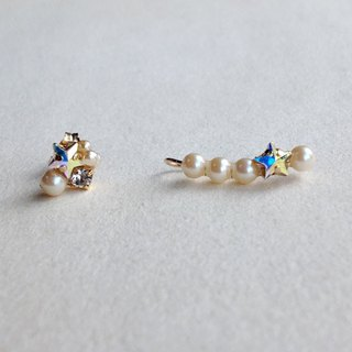 14 kgf vintage pearl and star clip earrings ear needle