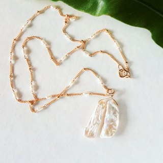 14kgf * Japanese Freshwater pearl station necklace + Top