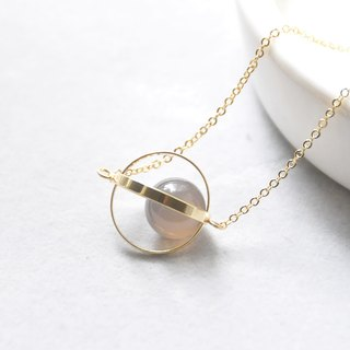 疗愈星球。宇宙。金环。灰玛瑙。项链 Healing Planet。Galaxy。Golden Ring。Agate Grey。Necklace。生日礼物。闺蜜礼物。姐妹礼物